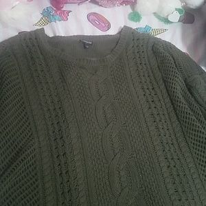 Express Green cable knit oversized sweater